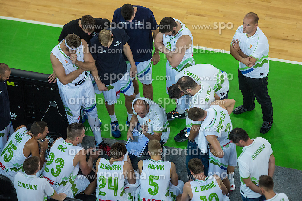 Slovenian national team during friendly basketball match between National teams of Slovenia and Serbia in arena Stozice, on August 23 in Ljubljana, Slovenia. Photo by Grega Valancic / Sportida August 27, 2015