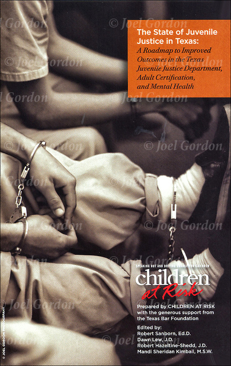 Cover image &quot;The State of Juvenile Justice in Texas - Children at Risk&quot; brochure by the Texas Bar Foundation. <br /> <br /> Juvenile in handcuffed and leg irons sitting waiting for his court hearing in the Juvenile Justice Center, Ninth Judicial Circuit Court in Orlando FL