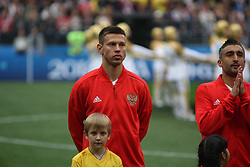 June 14, 2018 - Moscow, Russia - Russian Federation. Moscow. The Luzhniki Stadium. Match Opening of the World Cup 2018. Russia - Saudi Arabia. Solemn opening ceremony of the FIFA World Cup 2018. FIFA World Cup 2018. Player of the Russian national football team (in red)..Fedor Smolov. (Credit Image: © Russian Look via ZUMA Wire)