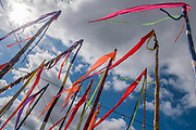 Glastonbury streamers in the bar area between the stages - The 2017 Glastonbury Festival, Worthy Farm. Glastonbury, 23 June 2017