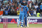 India win the first T20 KL Rahul & Virat Kohli (Capt) during the International T20 match between England and India at Old Trafford, Manchester, England on 3 July 2018. Picture by George Franks.