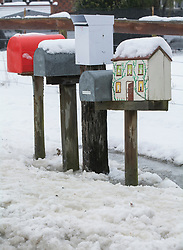 Post boxes in snow at Glentunnel, inland Canterbury, New Zealand, Thursday, July 13, 2017. Credit:  SNPA / David Alexander -NO ARCHIVING-