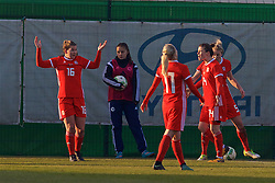 ZENICA, BOSNIA AND HERZEGOVINA - Tuesday, November 28, 2017: Wales'Alice Griffiths and Hayley Ladd Loren Dykes as the referee awards an 84th minute penalty during the FIFA Women's World Cup 2019 Qualifying Round Group 1 match between Bosnia and Herzegovina and Wales at the FF BH Football Training Centre. (Pic by David Rawcliffe/Propaganda)