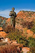 Bronze Statue of Mormon Pioneer settler Levi Stewart, Levi Stewart Memorial garden park in Kanab, Kane County, southern Utah
