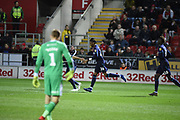 Jonathan Kodjia celebrates his goal during the EFL Sky Bet Championship match between Rotherham United and Aston Villa at the AESSEAL New York Stadium, Rotherham, England on 10 April 2019.