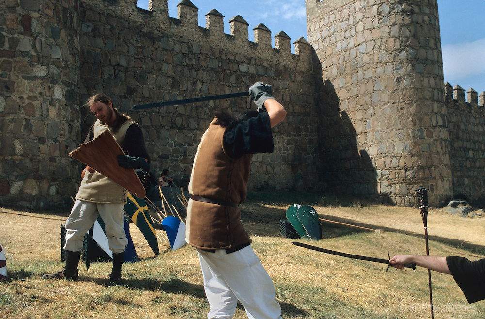 SPAIN / Castile and Leon / Avila. Medieval recreations in Spain. Soldiers trainig in front of the walls. The city celebrates every September a Medieval festival.....