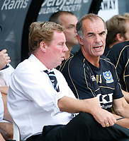 Photo: Steve Bond. <br /> Derby County v Portsmouth. Barclays Premiership. 11/08/2007. Harry redknapp (L) & Joe Jordan (R)