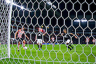 EINDHOVEN, PSV - NEC, voetbal, Eredivisie seizoen 2015-2016, 26-09-2015, Philips Stadion, PSV speler Luuk de Jong (L) scoort de 1-0, NEC speler Wojciech Golla (R), NEC speler Lucas Woudenberg (M).