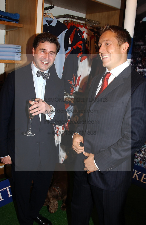 Left to right, JEREMY HACKETT and England rugby player JONNY WILKINSON at a party to celebrate the 21st year of Hackett held at their store in Sloane Street, London on 26th October 2004.<br />