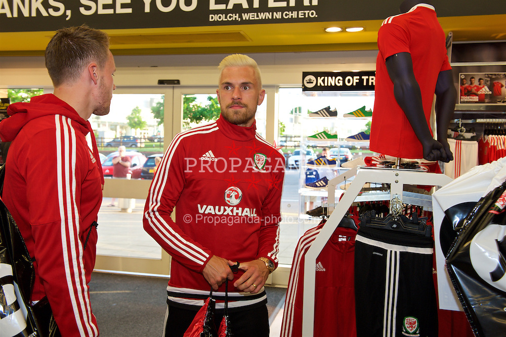 CARDIFF, WALES - Thursday, June 2, 2016: Wales' Aaron Ramsey during a visit to a JD Sports store in Llantrisant. (Pic by Ian Cook/Propaganda)