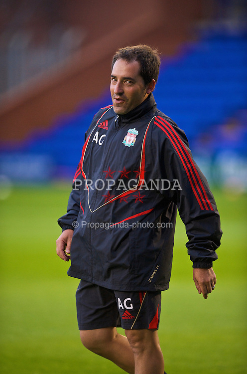 BIRKENHEAD, ENGLAND - Wednesday, September 2, 2009: Liverpool's fitness coach Antonio Gomez before the FA Premiership Reserves League (Northern Division) match against Bolton Wanderers at Prenton Park. (Photo by David Rawcliffe/Propaganda)