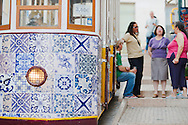The funicular of Bica neighborhood with a decoration inspired by Portuguese traditional tiles.