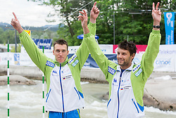 Luka Bozic and Saso Taljat  of Slovenia at medal ceremony after the Final of Canoe Double C2 Men during ICF Canoe Slalom World Cup Tacen 2014 on June 15, 2014 in Ljubljana, Slovenia. Photo by Vid Ponikvar / Sportida