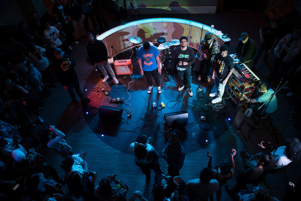 4/7/16 – Medford/Somerville, MA – A student band performs in Hotung during the Battle of the Bands on Thursday, Apr. 7, 2016. The winner of the night's event, Water Walk, will be able to perform as an opener during Spring Fling. (Nicholas Pfosi / The Tufts Daily)