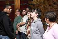 (from left) CJ Jones of Riverside, Dwight McCormick of Springfield, Aaron Phillips of Dayton, Nate Washington of Dayton, Kathy Roll of Dayton, Erin Welsh of Dayton and Molly Guyer-Reed of Oakwood during a Lofty Aspirations improv class at The Livery in the Oregon Arts District in Dayton, Wednesday, February 15, 2012.