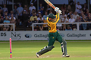 Alex Hales batting during the Vitality T20 Blast North Group match between Leicestershire Foxes and Notts Outlaws at the Fischer County Ground, Grace Road, Leicester, United Kingdom on 23 August 2019.