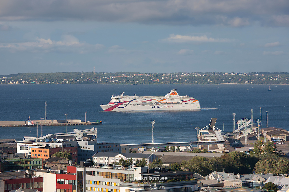 Tallink Cruise Ship next to Port of Tallinn, Estonia