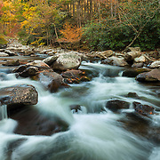 Large Cascades West Prong Little Pidgeon River - Fall Color - Great Smoky Mountains