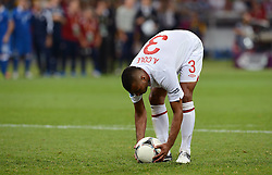 Ashley Cole sets the ball top on the penalty line during Italy V England Quarter-finals in the Euro 2012, Sunday June 24, 2012, in Kiev, Ukraine. Photo By Imago/i-Images