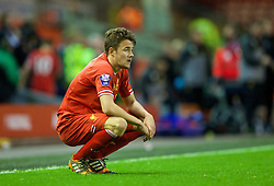 ANFIELD, ENGLAND - Friday, May 2, 2014: Liverpool's Jordan Lussey looks dejected as his side lose 1-0 to Manchester United during the Under 21 FA Premier League Semi-Final match at Anfield. (Pic by David Rawcliffe/Propaganda)