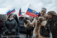 Ukraine, Donetsk: Pro-Russia demonstrators are seen in front of the Regional Parliament building during a rally in Donetsk on March 16, 2014. Pro-Russia demonstrators in the eastern city of Donetsk called Sunday for a referendum similar to the one in Crimea as some of them stormed the prosecutor-general's office. ALESSIO ROMENZI