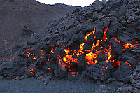Glowing molten volcanic rock of Eyjafjallajokull Fimmvorduhals Iceland