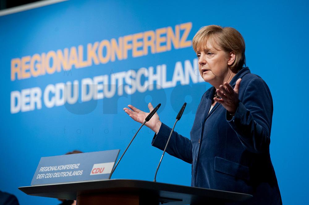 15 OCT 2010, BERLIN/GERMANY:<br /> Angela Merkel, CDU Bundesvorsitzende, haelt eine Rede, Regionalkonferenz der CDU fuer die Landesverbaende Berlin und Brandenburg, Palais am Funkturm<br /> IMAGE: 20101015-01-034