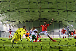 EDINBURGH, SCOTLAND - Sunday, October 30, 2016: Republic of Ireland's Adam Idah scores the third goal against Wales, his second of the gate, to give his side a 3-0 half-time lead during the Under-16 2016 Victory Shield match at ORIAM. (Pic by David Rawcliffe/Propaganda)