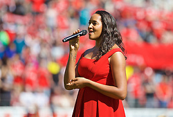 MAINZ, GERMANY - Sunday, August 7, 2016: A singer performs 'You'll Never Walk Alone' before a pre-season friendly match between Liverpool and FSV Mainz 05 at the Opel Arena. (Pic by David Rawcliffe/Propaganda)