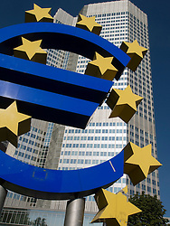Large Euro sign outside headquarters of European Central Bank (ECB) in Frankfurt Germany