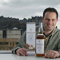David Robertson with special edition bottle of Macallan whisky which will be available only through duty free purchase<br /><br />Picture by Graeme Hart.<br />Copyright Perthshire Picture Agency<br />Tel: 01738 623350  Mobile: 07990 594431