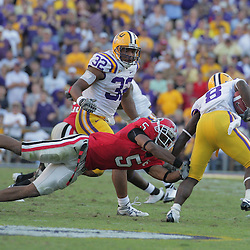 25 October 2008: Georgia wide receiver Craig Sager (5) dives in an attempt to tackle LSU wide receiver Trindon Holliday (8) during the Georgia Bulldogs 52-38 victory over the LSU Tigers at Tiger Stadium in Baton Rouge, LA.