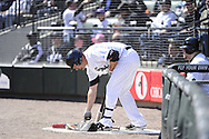 CHICAGO - APRIL 04:  Paul Konerko #14 of the Chicago White Sox prepares to bat in the on-deck circle against the Kansas City Royals on April 4, 2013 at U.S. Cellular Field in Chicago, Illinois.  The Royals defeated the White Sox 3-1.  (Photo by Ron Vesely)   Subject: Paul Konerko