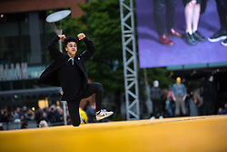 © Licensed to London News Pictures . 29/06/2017 . Manchester , UK . What is the City But the People launch event , by artist Jeremy Deller , featuring a catwalk across the length of Piccadilly Gardens . Photo credit : Joel Goodman/LNP