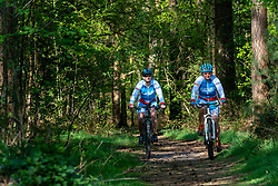 Jessica and Petra in training in special Spanish cycling clothes, because they are going to cycle together with Spanish cyclists for the fifth time in a row, for the challenge WeBike2ChangeDiabetes in Soria & Navarra 2020 at the MTB track Lage Vuursche on April 19, 2020 in Lage Vuursche, Netherlands