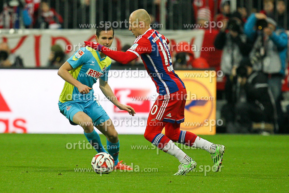 27.02.2015, Allianz Arena, Muenchen, GER, 1. FBL, FC Bayern Muenchen vs 1. FC K&ouml;ln, 23. Runde, im Bild l-r: im Zweikampf, Aktion, mit Pawel Olkowski #16 (1. FC Koeln) und Arjen Robben #10 (FC Bayern Muenchen) // during the German Bundesliga 23rd round match between FC Bayern Munich and 1. FC K&ouml;ln at the Allianz Arena in Muenchen, Germany on 2015/02/27. EXPA Pictures &copy; 2015, PhotoCredit: EXPA/ Eibner-Pressefoto/ EXPA/ Kolbert<br /> <br /> *****ATTENTION - OUT of GER*****