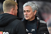 Manchester United manager Jose Mourinho is greeted by AFC Bournemouth manager Eddie Howe before the Premier League match between Bournemouth and Manchester United at the Vitality Stadium, Bournemouth, England on 18 April 2018. Picture by Graham Hunt.