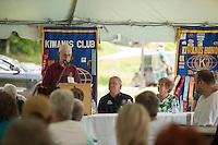 Dexter Willson welcomes the crowd for the 70th Anniversary celebration of the Kiwanis Pool in St. Johnsbury Vermont.  Karen Bobotas / for Kiwanis International