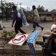 Lower 9th Ward residents make there way over the bridge and into the city after  Hurricane Katrina.<br />