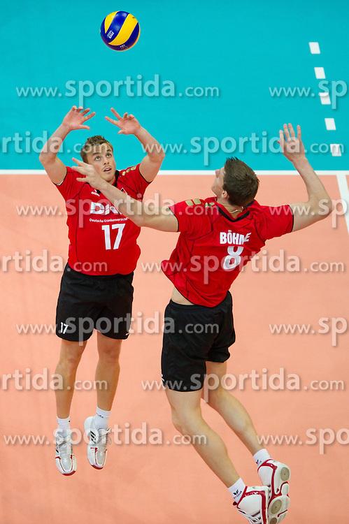 12.09.2011, O2 Arena, Prag, CZE, Europameisterschaft Volleyball Maenner, Vorrunde D, Deutschland (GER) vs Bulgarien (BUL), im Bild Patrick Steuerwald (#17 GER / Warschau POL), Marcus Böhme/Boehme (#8 GER / Friedrichshafen GER) // during the 2011 CEV European Championship, Germany vs Bulgaria at O2 Arena, Prague, 2011-09-12. EXPA Pictures © 2011, PhotoCredit: EXPA/ nph/  Kurth       ****** out of GER / CRO  / BEL ******