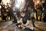 HONG KONG: 07 October 2019 A protester is arrested during clashes with riot police in the Mong Kok region of Hong Kong this evening. Violence has continued throughout the city despite the introduction of a new law stating no masks can be warn which, in turn, has escalated the anger of the protesters.   <br /> Rick Findler / Story Picture Agency