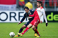 Onderwerp/Subject: FC Utrecht - Willem II - Eredivisie<br /> Reklame:  <br /> Club/Team/Country: <br /> Seizoen/Season: 2012/2013<br /> FOTO/PHOTO: Edouard DUPLAN (FRONT) of FC Utrecht in duel with Gaby JALLO (BEHIND) of Willem II. (Photo by PICS UNITED)<br /> <br /> Trefwoorden/Keywords: <br /> #04 #22 $94 ±1354626289759<br /> Photo- & Copyrights © PICS UNITED <br /> P.O. Box 7164 - 5605 BE  EINDHOVEN (THE NETHERLANDS) <br /> Phone +31 (0)40 296 28 00 <br /> Fax +31 (0) 40 248 47 43 <br /> http://www.pics-united.com <br /> e-mail : sales@pics-united.com (If you would like to raise any issues regarding any aspects of products / service of PICS UNITED) or <br /> e-mail : sales@pics-united.com   <br /> <br /> ATTENTIE: <br /> Publicatie ook bij aanbieding door derden is slechts toegestaan na verkregen toestemming van Pics United. <br /> VOLLEDIGE NAAMSVERMELDING IS VERPLICHT! (© PICS UNITED/Naam Fotograaf, zie veld 4 van de bestandsinfo 'credits') <br /> ATTENTION:  <br /> © Pics United. Reproduction/publication of this photo by any parties is only permitted after authorisation is sought and obtained from  PICS UNITED- THE NETHERLANDS