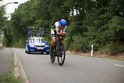 Tayler Wiles (USA) of UnitedHealthcare Cycling Team tackles the first climb of Stage 4 of the Lotto Thuringen Ladies Tour - a 18.7 km individual time trial, starting and finishing in Schmolln on July 16, 2017, in Thuringen, Germany. (Photo by Balint Hamvas/Velofocus.com)