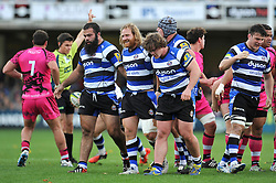 Ross Batty of Bath Rugby is all smiles after Bath are awarded a penalty at a scrum - Photo mandatory by-line: Patrick Khachfe/JMP - Mobile: 07966 386802 01/11/2014 - SPORT - RUGBY UNION - Bath - The Recreation Ground - Bath Rugby v London Welsh - LV= Cup