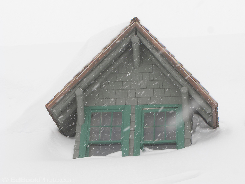 a gabled window in the snowed-in Paradise Inn at Mount Rainier National Park, Washington, USA gables of the snowed-in Paradise Inn during a snowstorm at Mount Rainier National Park, Washington, USA
