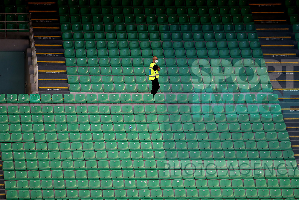 A lone steward patrols the empty stands during the Serie A match at Giuseppe Meazza, Milan. Picture date: 28th June 2020. Picture credit should read: Jonathan Moscrop/Sportimage