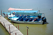 Moored boats, lake front, Chapala, Jalisco, Mexico. Lake Chapala is the largest body of freshwater in Mexico.
