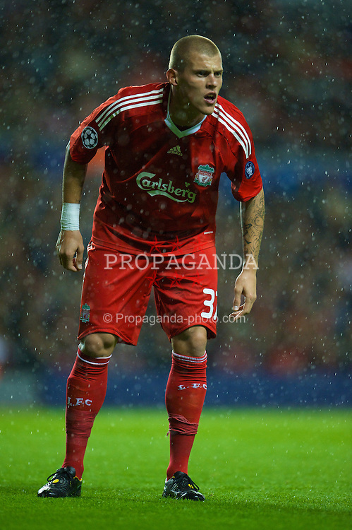 LIVERPOOL, ENGLAND - Wednesday, October 1, 2008: Liverpool's Martin Skrtel in action against PSV Eindhoven during the UEFA Champions League Group D match at Anfield. (Photo by David Rawcliffe/Propaganda)