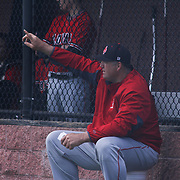 William Penn Manager Marvin Dooley instructs his players during of a varsity scheduled game between the Colonials of William Penn and The St. Elizabeth Vikings Saturday, April 25, 2015, at William Penn High School baseball field in New Castle Delaware.<br /> <br /> William Penn defeats St. Elizabeth 6-5