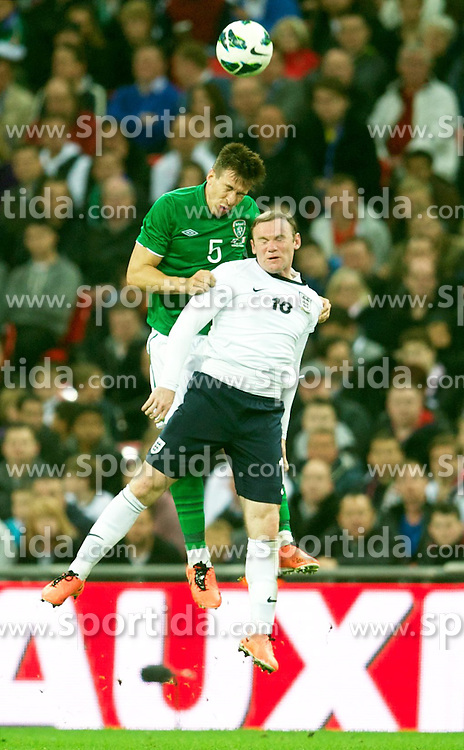 29.05.2013, Wembley Stadion, London, ENG, Testspiel, England vs Irland, im Bild England's Wayne Rooney in action against Republic of Ireland's Sean St. Ledger during during International Friendly Match between England and Republic of Ireland at the Wembley Stadium, London, United Kingdom on 2013/05/29. EXPA Pictures &copy; 2013, PhotoCredit: EXPA/ Propagandaphoto/ David Rawcliffe<br /> <br /> ***** ATTENTION - OUT OF ENG, GBR, UK *****